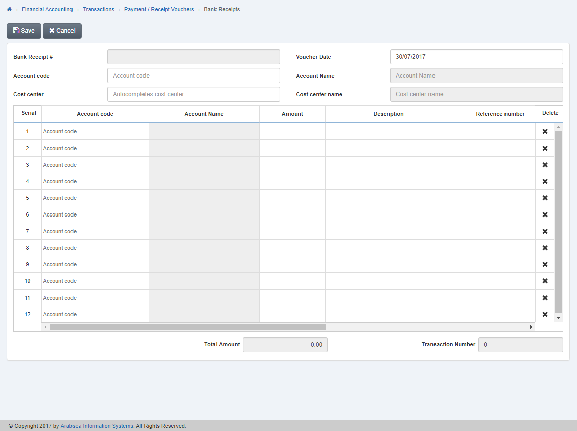 Bank Receipts - SMACC Accounting Software Documentation